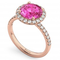 Halo Pink Tourmaline & Diamond Engagement Ring 14K Rose Gold 2.50ct
