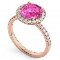 Halo Pink Tourmaline & Diamond Engagement Ring 18K Rose Gold 2.50ct