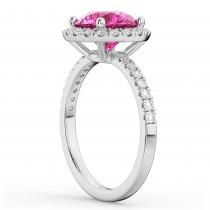 Halo Pink Tourmaline & Diamond Engagement Ring 18K White Gold 2.50ct