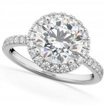 Round Halo Diamond Engagement Ring Platinum (2.50ct)