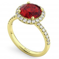 Halo Ruby & Diamond Engagement Ring 14K Yellow Gold 2.80ct