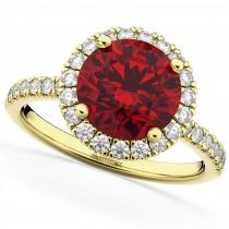 Halo Ruby & Diamond Engagement Ring 18K Yellow Gold 2.80ct