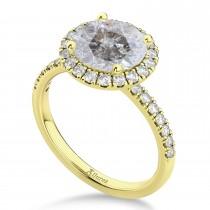 Halo Salt & Pepper & White Diamond Engagement Ring 14K Yellow Gold (2.50ct)