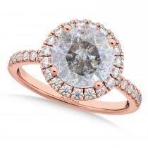 Halo Salt & Pepper & White Diamond Engagement Ring 18K Rose Gold (2.50ct)