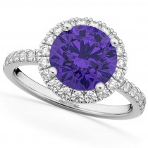 Halo Tanzanite & Diamond Engagement Ring 14K White Gold 2.80ct