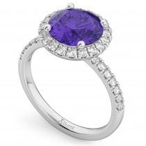 Halo Tanzanite & Diamond Engagement Ring 14K White Gold 2.80ct