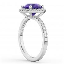 Halo Tanzanite & Diamond Engagement Ring Platinum 2.80ct