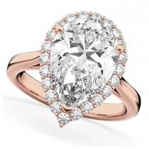 Pear Cut Halo Diamond Engagement Ring 14K Rose Gold 4.69ct