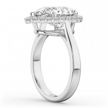 Pear Shaped Halo Diamond Engagement Ring 14K White Gold (4.69ct)