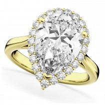 Pear Shaped Halo Diamond Engagement Ring 14K Yellow Gold (4.69ct)