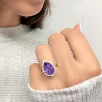 Pear Cut Halo Amethyst & Diamond Engagement Ring 14K Rose Gold 5.44ct