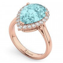 Pear Cut Halo Aquamarine & Diamond Engagement Ring 14K Rose Gold 6.04ct