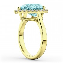 Pear Cut Halo Aquamarine & Diamond Engagement Ring 14K Yellow Gold 6.04ct