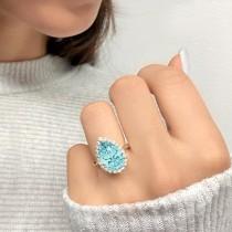 Pear Cut Halo Aquamarine & Diamond Engagement Ring 14K Yellow Gold 6.04ct