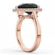 Pear Black Diamond & Diamond Engagement Ring 14K Rose Gold (4.69ct)