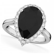 Pear Cut Halo Black Diamond & Diamond Engagement Ring 14K White Gold 4.69ct