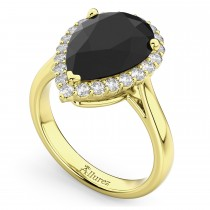 Pear Black Diamond & Diamond Engagement Ring 14K Yellow Gold (4.69ct)