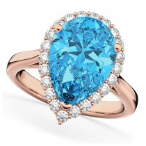 Pear Cut Halo Blue Topaz & Diamond Engagement Ring 14K Rose Gold 8.94ct