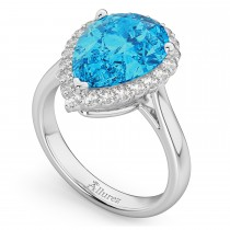 Pear Cut Halo Blue Topaz & Diamond Engagement Ring 14K White Gold 8.94ct