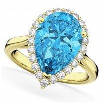 Pear Cut Halo Blue Topaz & Diamond Engagement Ring 14K Yellow Gold 8.94ct