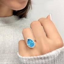 Pear Cut Halo Blue Topaz & Diamond Engagement Ring 14K Yellow Gold 8.94ct