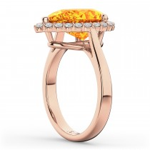 Pear Cut Halo Citrine & Diamond Engagement Ring 14K Rose Gold 5.44ct