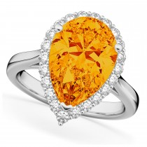 Pear Cut Halo Citrine & Diamond Engagement Ring 14K White Gold 5.44ct