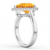 Pear Cut Halo Citrine & Diamond Engagement Ring 14K White Gold 5.44ct