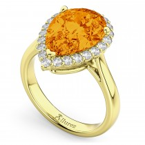 Pear Cut Halo Citrine & Diamond Engagement Ring 14K Yellow Gold 5.44ct
