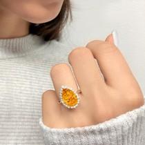Pear Cut Halo Citrine & Diamond Engagement Ring 14K Yellow Gold 5.44ct