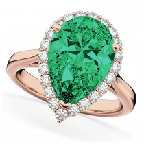 Pear Cut Halo Emerald & Diamond Engagement Ring 14K Rose Gold 6.54ct