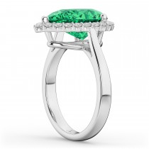 Pear Cut Halo Emerald & Diamond Engagement Ring 14K White Gold 6.54ct