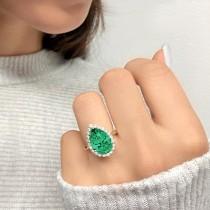 Pear Cut Halo Emerald & Diamond Engagement Ring 14K Yellow Gold 6.54ct
