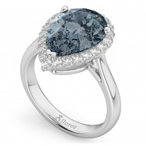 Pear Cut Halo Gray Spinel & Diamond Engagement Ring 14K White Gold 4.69ct