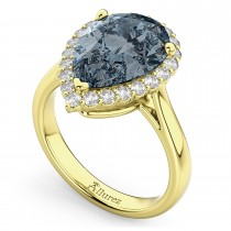 Pear Cut Halo Gray Spinel & Diamond Engagement Ring 14K Yellow Gold 4.69ct