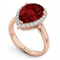 Pear Cut Halo Garnet & Diamond Engagement Ring 14K Rose Gold 6.24ct