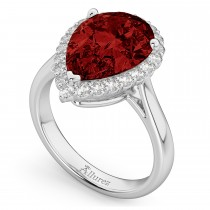 Pear Cut Halo Garnet & Diamond Engagement Ring 14K White Gold 6.24ct