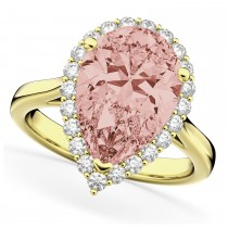 Pear Cut Halo Morganite & Diamond Engagement Ring 14K Yellow Gold 4.74ct