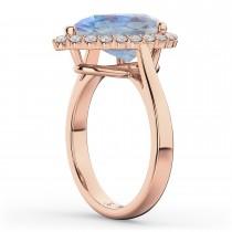 Pear Cut Halo Moonstone & Diamond Engagement Ring 14K Rose Gold 4.69ct