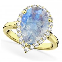 Pear Cut Halo Moonstone & Diamond Engagement Ring 14K Yellow Gold 4.69ct