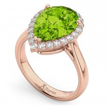 Pear Cut Halo Peridot & Diamond Engagement Ring 14K Rose Gold 5.19ct