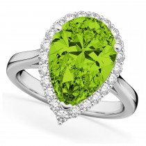Pear Cut Halo Peridot & Diamond Engagement Ring 14K White Gold 5.19ct