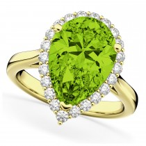 Pear Cut Halo Peridot & Diamond Engagement Ring 14K Yellow Gold 5.19ct