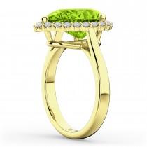 Pear Cut Halo Peridot & Diamond Engagement Ring 14K Yellow Gold 5.19ct