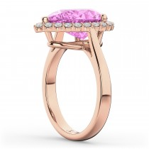Pear Cut Halo Pink Sapphire & Diamond Engagement Ring 14K Rose Gold 8.34ct