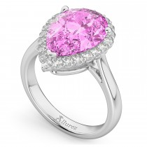Pear Cut Halo Pink Sapphire & Diamond Engagement Ring 14K White Gold 8.34ct