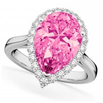 Pear Cut Halo Pink Tourmaline & Diamond Engagement Ring 14K White Gold 7.19ct