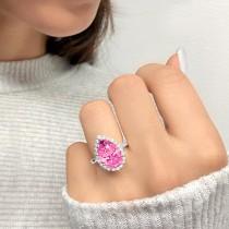 Pear Cut Halo Pink Tourmaline & Diamond Engagement Ring 14K White Gold 7.19ct