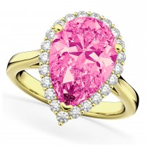 Pear Cut Halo Pink Tourmaline & Diamond Engagement Ring 14K Yellow Gold 7.19ct