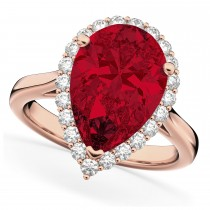 Pear Cut Halo Ruby & Diamond Engagement Ring 14K Rose Gold 8.34ct